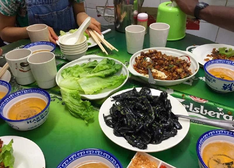 Food at Tung Po with the Squid Ink Spaghetti front and centre